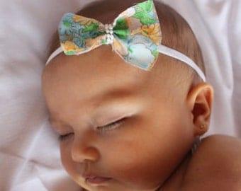 Floral Bow Headband, Floral Bow, Baby Headband, Spring Headband, Floral Baby Headband, Infant Headband, Bow Headpiece, Toddler Headband