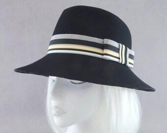 Black Felt Floppy Hat. Wool Wide Brim Hat. Women's Fedora. Ladies' Wool Felt Hat. Black Fedora w/ Yellow Striped Ribbon. Winter Accessory.