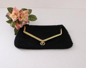 Vintage Corde Bead Fold Over Beaded Clutch Purse, Corde Black Bead Clutch, Mid Century Ladies Accessories