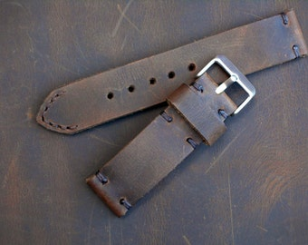 Distressed Brown Crazy Horse Leather Hand Made Watch Strap with Stainless Steel Buckle Vintage 18mm 20mm 22mm 24mm