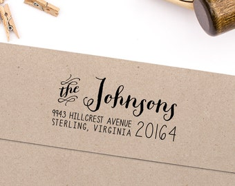 "Return Address Stamp, Housewarming Gift, Script Address Stamp, DIYer Gift, Wedding Gift. Custom Address Stamp 2.5"" x 1"""