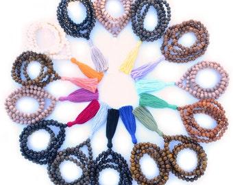 Handmade Prayer Beads, 108 Wooden Mala Beads Necklace with Bright Tassel, 108 + 1, Prayer Beads, Layering Necklace