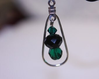 Green and Black Swarovski crystal earrings