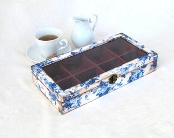Wooden  tea box , decoupage delft tea box with dividers , floral jewelry box , a gift for her