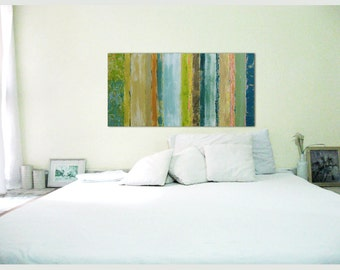 canvas abstract painting acrylic painting modern abstract art 48x24 horizontal plants soft colors green light acryclic painting soft