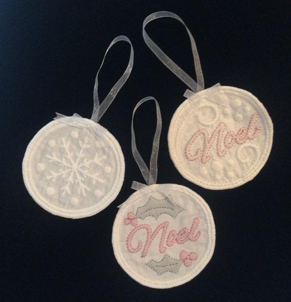 Kit - 3 French Boutis Christmas Ornaments