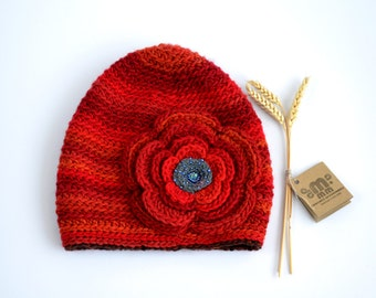UNIQUE hat, Womans slouchy crochet flower beanie, hat with flower, Red winter hat, Hippie hat, adult gnome hat, one of a kind gift, MAMMBA