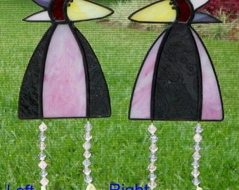 Whimsical Stained Glass Bird Suncatcher with Legs, Purple and Pink  #343