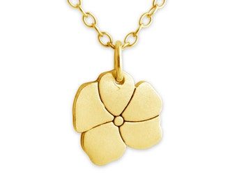 Full Bloom Forget Me Not Flower Symbol of True Love Romantic Charm Pendant Necklace #14K Gold Plated over 925 Sterling Silver #Azaggi N0044G