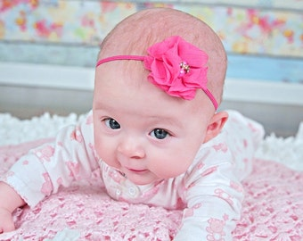 Pink Flower Headband, Pink Headband, Newborn Flower Headband, Newborn Headband, Photo Prop Headband, Wedding Headband, Flower Girl Headband
