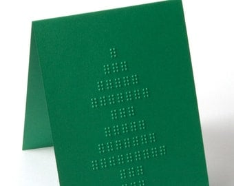 Braille Christmas Card | Christmas Tree | Green