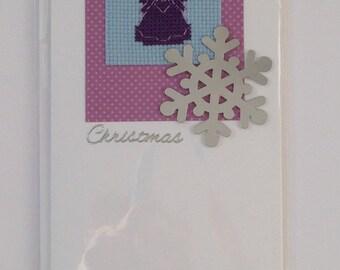 Cross stitch angel handmade 'Happy Christmas' card