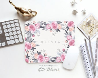 Personalized Mouse Pad Mousepad Floral Watercolor Mouse Mat Wreath Mouse Pad Office Mousemat Rectangular Personalized Mousepad Round 43.