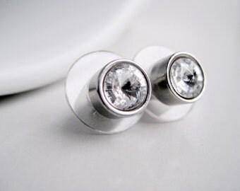 Crystal studs, Swarovski crystal, white stud earrings, small earrings, clear crystal post earrings, steel studs