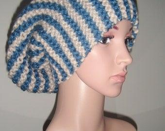 Knitted Vertical Stripes Chunky Beanie Hat, Handmade Knitwear