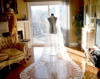 Bridal veil, wedding veil, ivory wedding veil, white lace veil, long veil