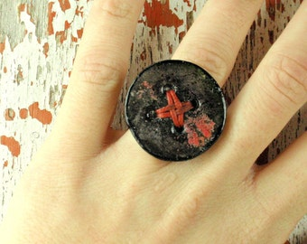 Lightweight faux ceramic ring, christmas gift, polymer clay big ring, contemporary jewelry, artsy ring, impressive ring, organic shape