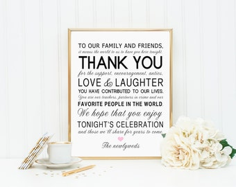 PRINTABLE  - Thank You Family Friends Wedding Sign Pink Heart - DIY Digital file - 8 x 10 or 5 x 7 Instant Download