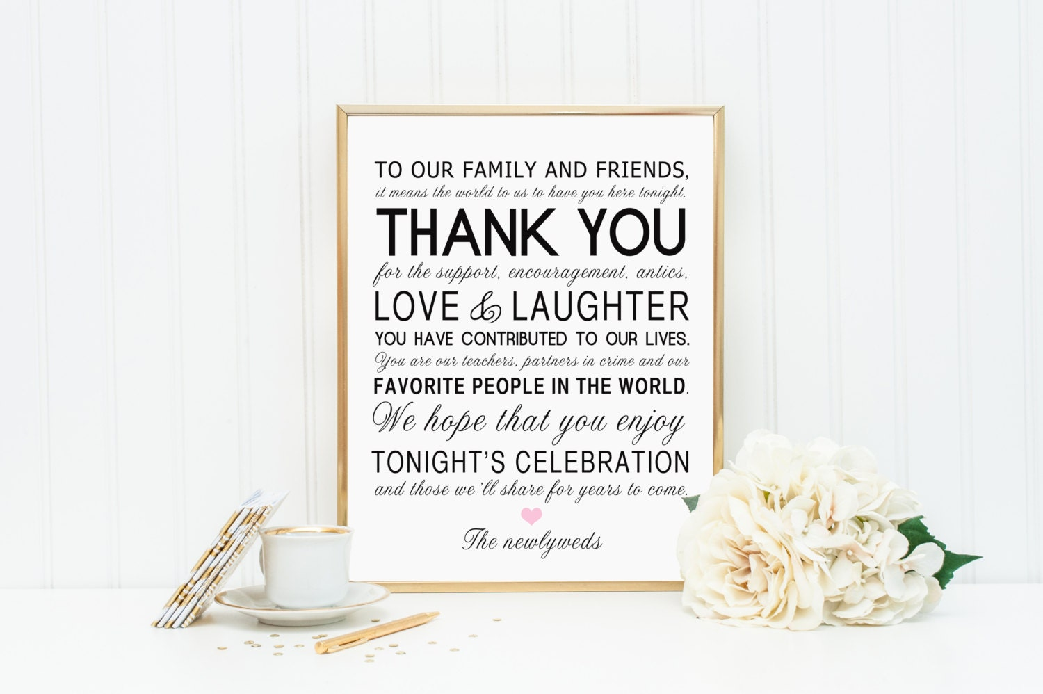 PRINTABLE Thank You Family Friends Wedding Reception