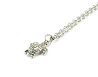 Sea Turtle Necklace Silver Chain Beach Style Jewelry