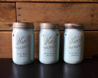 Blue Kitchen Canister Set, Painted mason jar, vintage kerr or ball mason jar, centerpiece, office decor, bathroom storage, rustic vase, chal