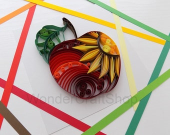 Red Apple Kitchen Decor, Apple Ornament Decoration, Fruit Sign, Fruit Decor, Hanging Wall Art, 3d Art, Sun, Housewarming Gift, Couple Gift