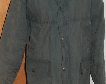 Blarney Woolen Mills waxed cotton coat. Green. Small.