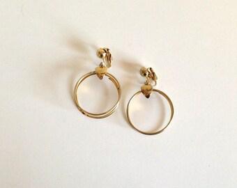 Vintage Gold Hoop Clip Back Earrings