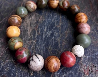 Red Creek Jasper Wrist Mala Bracelet, Stretch Wrist Mala, Stackable Bracelet, Yoga Jewelry Improves Health and Vitality