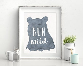 Woodland Wall Art, Baby shower gift, minimalist baby decor, Woodland Nursery decor, Nursery wall art, Run Wild, Inspirational baby art