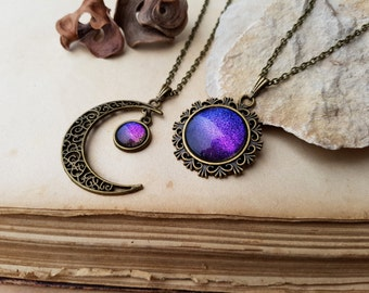 2 Sun and Moon Necklaces, crescent moon necklace, sun necklace, best friend necklaces, moon choker, sun choker, Aurora Borealis moon jewelry