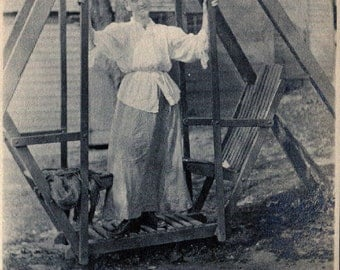 Antique Photo..Woman on a Lawn Swing 1900's, Original Photo, Old Photo Snapshot, Vernacular Photography, American Social History Photo