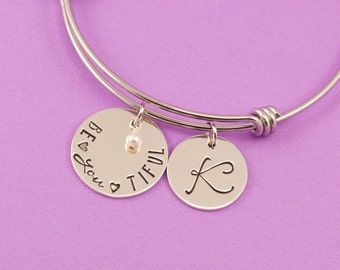 Be•YOU•tiful Adjustable Bangle Bracelet with Personalized Initial Charm - Stacking Bangle