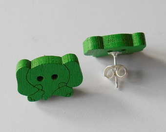 Colourful Elephant Studs, Funny Wooden Buttons, Quirky Gifts for Girls, Animal Lover Small Earrings, Cartoon Jewellery, Bright Colour Studs