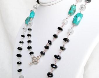 SALE Bold Gemstone Statement Necklace Modern Layering Chain Black Spinel Turquoise Black Tourmalinated Quartz Sterling Silver Fine Jewelry