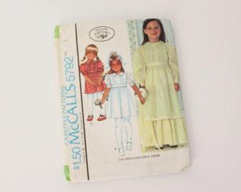 SIZE 3 5792 GIRL'S McCall's Laura Ashley Sewing Pattern 1977 1970s Vintage Dress Bodice Tucks High Waist Ruffled Skirt Children's Girls