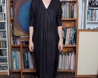40% off Black vegan leather dress,long sleeve dress,v neck dress, knee length dress,casual dresses for women,modern dress