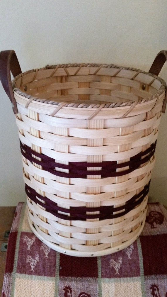 Oak Waste Basket ~ Handmade amish reed woven waste basket in by