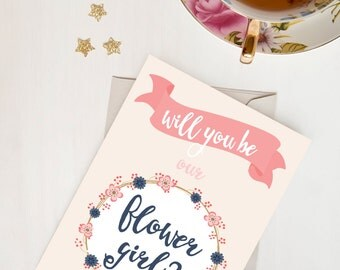Will You Be Our Flower Girl Card - The cutest way to ask / Vintage / Floral /