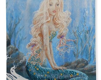 mermaid beach towel, mermaid pool towel, mermaid beach art, original painting by Nancy Quiaoit at NancyQart