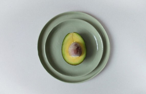 Grüne flache Teller die Porzellan Geschirr Keramik Geschirr