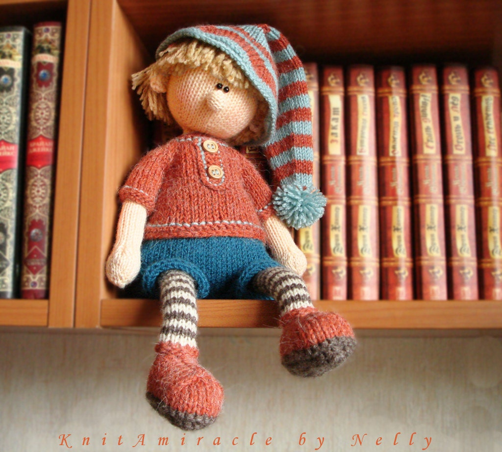 Knitting pattern doll Toy knitting pattern Knitted doll boy