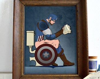 Superhero Captain America On the Toilet Poster Wall Art Print