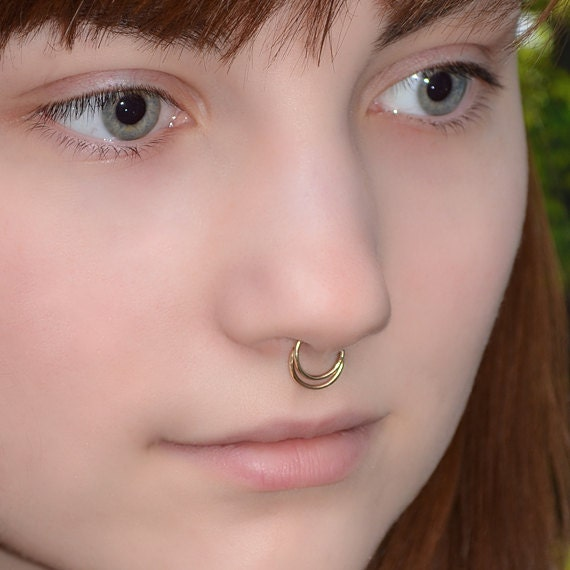 Septum Ring - Gold Nose Ring - Helix Earring - Rook Earring - Nipple Ring - Tragus Hoop - Cartilage Piercing - Daith Piercing 20 gauge