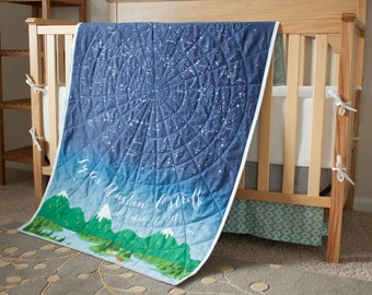 READY TO SHIP - Organic Quilt - I Love You More Than All The Stars in the Sky - Constellations - Northern Hemisphere