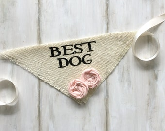 Custom Flower Color Wedding Dog Bandana Best Dog Ivory Burlap Fabric Roses Engagement Save the Date Proposal Prop Wedding Accessories