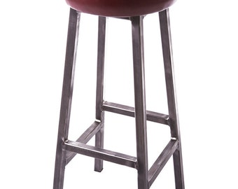 Leather Seat Thick Framed Bar Stool