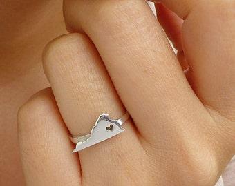 Sterling Silver Virginia Ring / Custom Heart / Virginia State Ring / Love Virginia / Virginia Map Ring / Virginia Heart