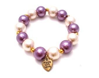 Purple and White Pearl Beaded Heart Charm Bracelet