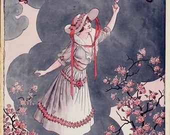 1920s La vie Parisienne vintage art deco print. Springtime